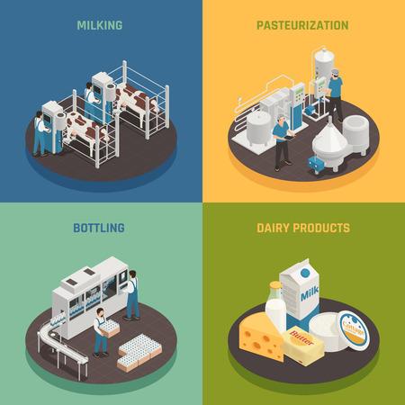 Ilustración de Dairy production milk factory isometric 2x2 design concept with compositions representing different stages of dairy production vector illustration - Imagen libre de derechos