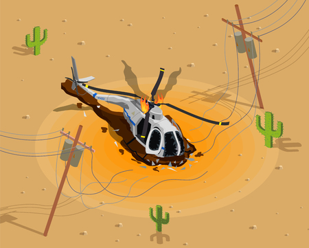 Illustration pour Airplanes helicopters isometric composition with desert scenery and burning helicopter near broken electric power transmission line vector illustration - image libre de droit