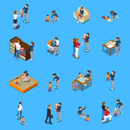 Ilustración de Baby sitter during child care, parents leaving for work, isometric people on blue background isolated vector illustration - Imagen libre de derechos