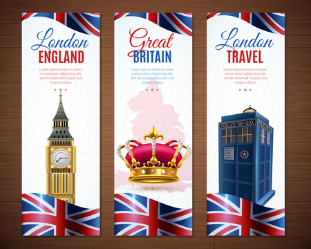 Illustration pour Set of england london travel vertical banners with big ben image vector illustration - image libre de droit