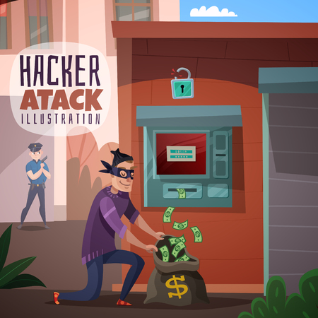 Illustration pour Person in mask during bank hacking and stealing money, police officer in background, cartoon vector illustration - image libre de droit