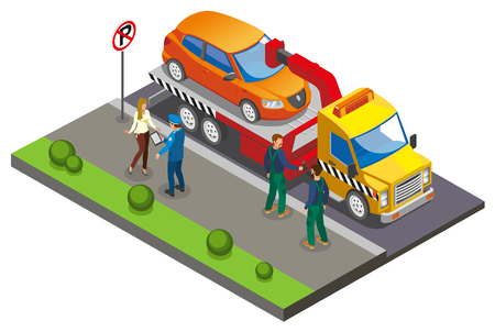 Illustration pour Colored Isometric parking composition with employees take the car to the parking lot because of improper parking vector illustration - image libre de droit