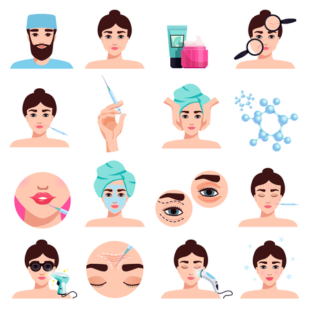 Illustration pour Facial rejuvenation cosmetic treatments icons collection with mask application  botox injections lips filling procedures isolated vector illustration - image libre de droit