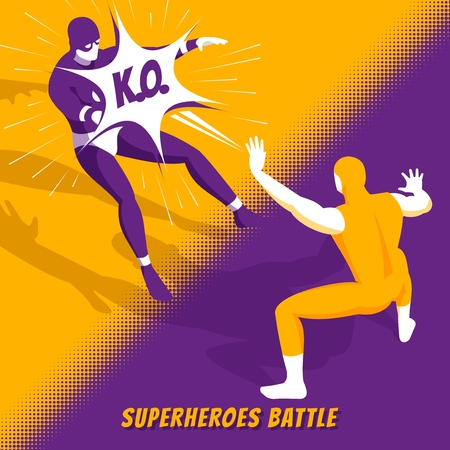 Illustration pour Famous superheroes movie characters fight in new computer videogame battle isometric orange purple screen image vector illustration - image libre de droit