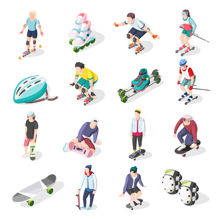 Ilustración de Roller and skateboarders isometric icons set of athletes sport equipment and elements of body protection vector illustration  - Imagen libre de derechos