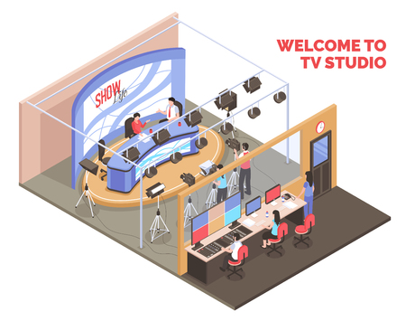 Illustration pour Live tv show with two anchormen broadcasting from studio isometric concept on white background 3d vector illustration - image libre de droit