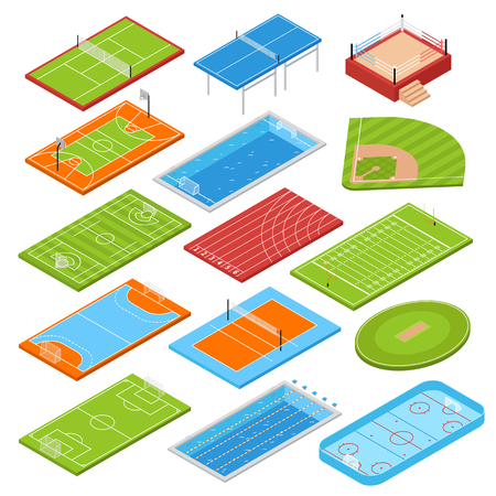 Illustration pour Sport clubs football soccer fields isometric icons collection with basketball tennis courts boxing ring swimming pool vector illustration  - image libre de droit