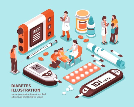 Illustration pour Diabetic patient life isometric composition with diagnosis sugar level tests weight control diet insulin injection vector illustration  - image libre de droit