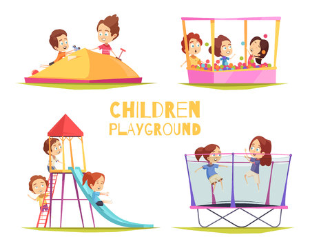 Illustration for Children playground design concept set with four isolated images of playground equipment and characters of kids vector illustration - Royalty Free Image