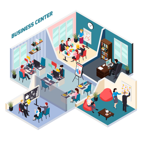 Illustration for Business center isometric composition with corporate meeting, employees at work places, staff coaching  vector illustration - Royalty Free Image