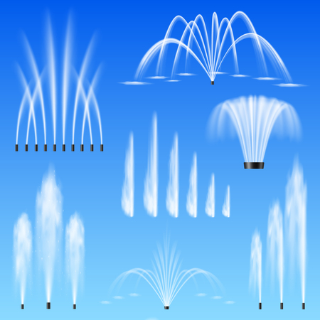 Illustration pour Decorative outdoor water jets fountains set of 7 various shapes size range against blue background vector illustration  - image libre de droit