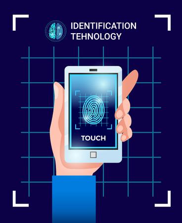 Ilustración de Biometric identification user technologies poster with hand holding smartphone with touchscreen id password fingerprint image vector illustration - Imagen libre de derechos