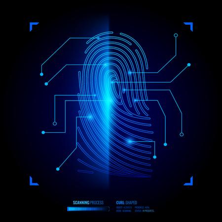 Ilustración de Finger print verification, scanning process of biometric key, recognition system, interface elements on black background vector illustration - Imagen libre de derechos