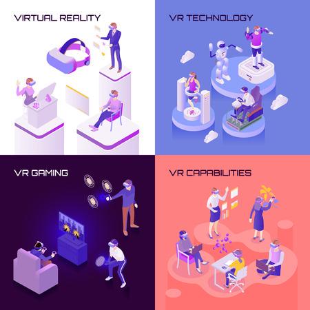 Ilustración de Virtual reality, capabilities of technology, vr gaming, isometric design concept isolated vector illustration - Imagen libre de derechos
