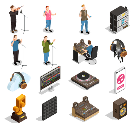 Illustration pour Music industry isometric icons set with recording studio symbols isolated vector illustration - image libre de droit