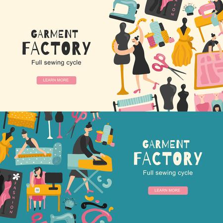 Ilustración de Garment factory horizontal banners with icons showing full sewing cycle flat vector illustration - Imagen libre de derechos