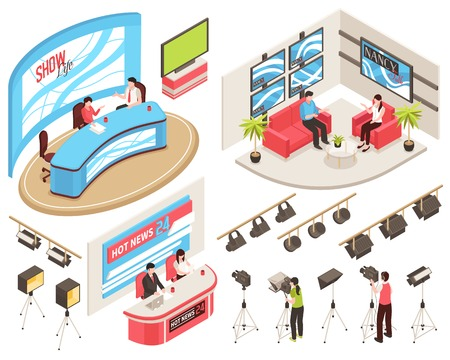 Illustration pour Tv studio of news and show programs, videographers with camcorders, light equipment, isometric set, isolated vector illustration - image libre de droit