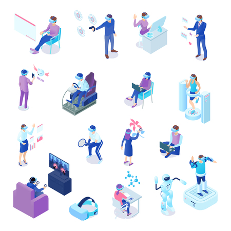 Ilustración de Human characters with virtual reality technology during business process, chat, sport activity, games, learning isolated vector illustration - Imagen libre de derechos