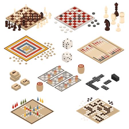 Ilustración de Isolated colored and isometric board games icon set backgammon mahjong chess checkers domino vector illustration - Imagen libre de derechos