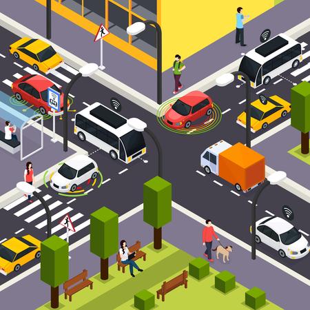 Ilustración de City crossroad isometric background with autonomous driverless cars on road and people walking on the street vector illustration - Imagen libre de derechos