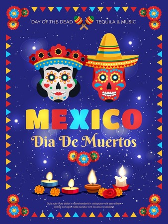 Illustration for Mexico culture traditions colorful poster with dead day celebration symbols masks candles accessories blue background vector illustration - Royalty Free Image