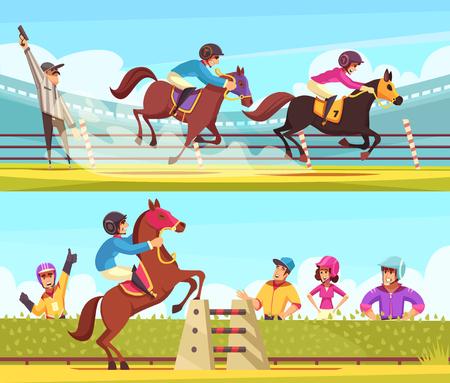 Ilustración de Equestrian sport banners collection with outdoor compositions of horse racing moments with cartoon style human characters vector illustration - Imagen libre de derechos