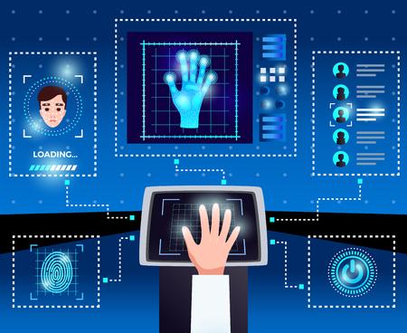 Ilustración de Identification computer technologies schema with integrated touchscreen interface for secure authorized user access blue background vector illustration - Imagen libre de derechos