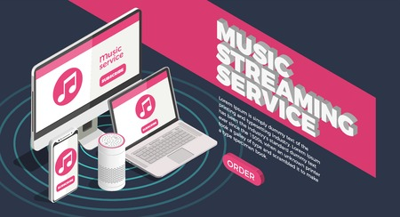 Illustration pour Music industry isometric poster with streaming service symbols vector illustration - image libre de droit
