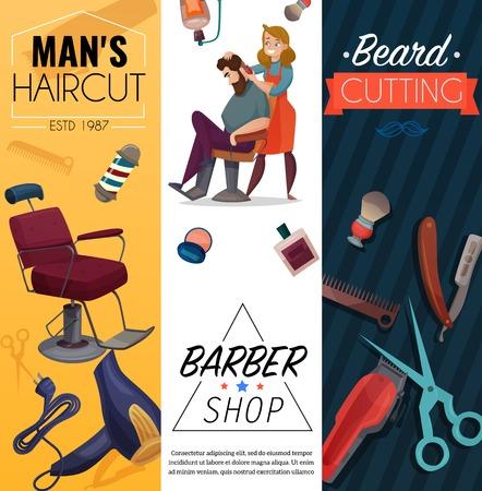 Ilustración de Barber shop vertical cartoon banners, mens coiffures, master and customer, work tools, beard cutting, isolated vector illustration - Imagen libre de derechos