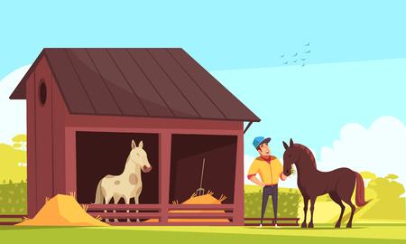 Ilustración de Equestrian sport composition with outdoor images of horse stable and human character feeding the stallion vector illustration - Imagen libre de derechos