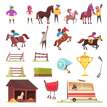 Ilustración de Equestrian sport set of isolated icons with flat images of horse race barriers awards and people vector illustration - Imagen libre de derechos