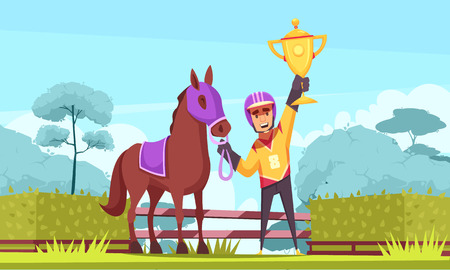 Ilustración de Equestrian sport horizontal composition with outdoor scenery and flat character of winner horseman with golden cup vector illustration - Imagen libre de derechos