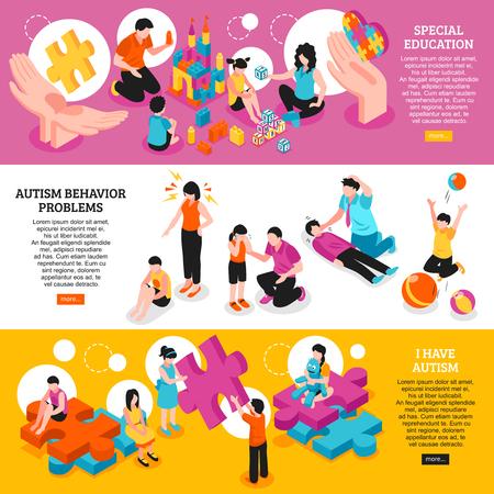 Ilustración de Set of isometric horizontal banners autism awareness special education and behavior problems isolated vector illustration - Imagen libre de derechos