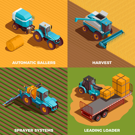 Illustration pour Agricultural machines isometric concept icons set with baler and sprayer isolated vector illustration - image libre de droit
