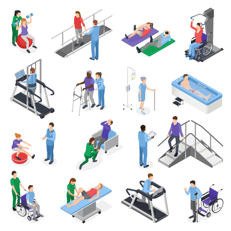 Illustration pour Physiotherapy rehabilitation clinic  isometric icons set with nursing staff treatment equipment simulators patient recovery isolated vector illustration - image libre de droit