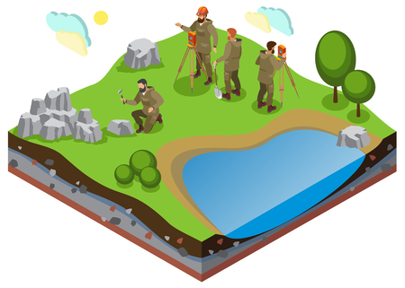 Illustration pour Earth exploration isometric composition with prospecting work on terrain with pond and rock formations vector illustration - image libre de droit