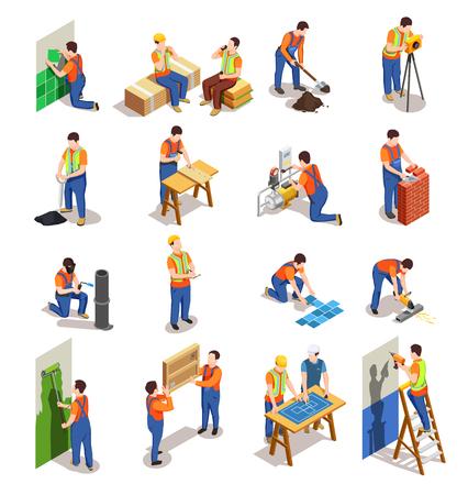 Ilustración de Construction workers with professional equipment during various building activity isometric people isolated vector illustration - Imagen libre de derechos
