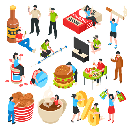 Illustrazione per Human characters with bad habits alcohol and drug shopaholism fast food isometric icons set isolated vector illustration - Immagini Royalty Free