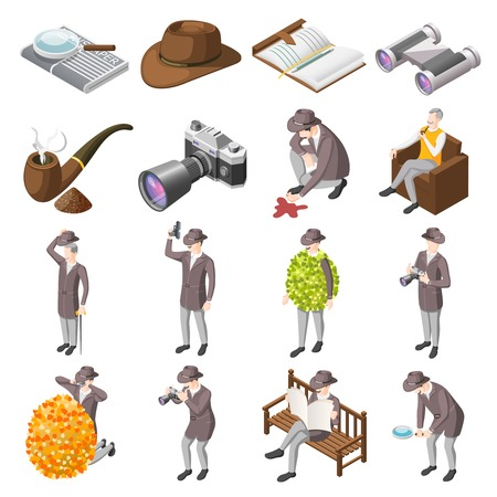 Illustrazione per Classic detective isometric icons set of secret agents investigators police inspector characters and accessories isolated vector illustration - Immagini Royalty Free