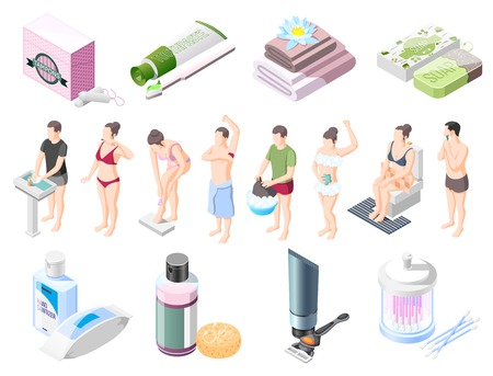 Ilustración de Personal hygiene isometric icons set soap shampoo shaving cream wet wipes towel tampons for intimate hygiene vector illustration - Imagen libre de derechos