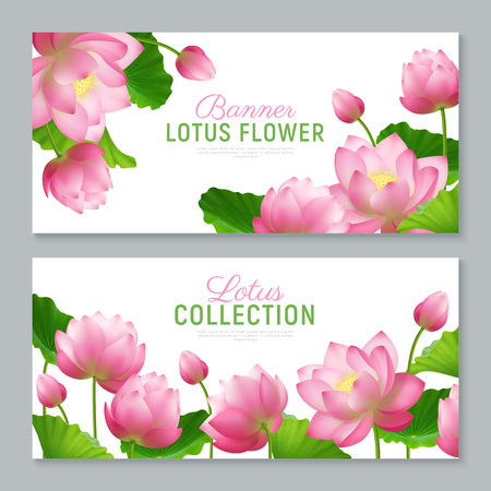 Illustration for Beautiful realistic lotus flowers collection 2 ornamental horizontal banners set with lettering on white background vector illustration - Royalty Free Image