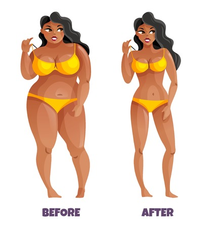 Illustrazione per Woman with dark skin and curvy hair in yellow bikini before and after slimming vector illustration - Immagini Royalty Free