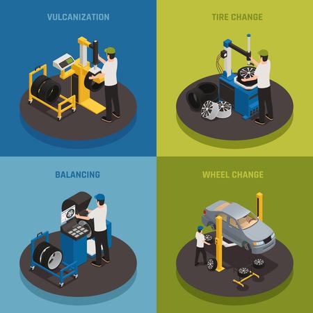 Ilustración de Tire production 2x2 design concept  set of vulcanization balancing wheel change square compositions isometric vector illustration - Imagen libre de derechos