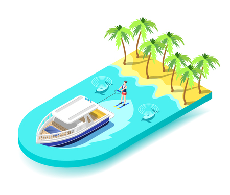 Water sport activity isometric composition with young athletic on vacation riding water ski in tropical sea vector illustration