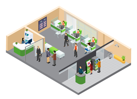Illustration pour Bank isometric composition with indoor view of bank branch with working clerks and customer human characters vector illustration - image libre de droit