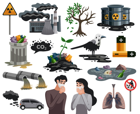 Ilustración de Ecological disasters flat images set with air water pollution hazardous waste related health problems isolated vector illustration - Imagen libre de derechos