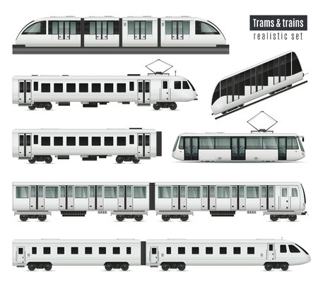 Illustration pour Passenger tram train realistic set with isolated images of public transport railroad cars and electric trams vector illustration - image libre de droit