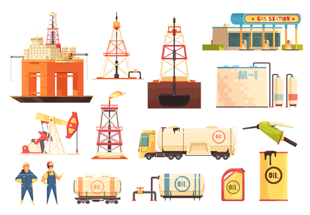Illustration pour Oil production industry cartoon icons collection with gas station drilling and jack-up rigs isolated vector illustration - image libre de droit