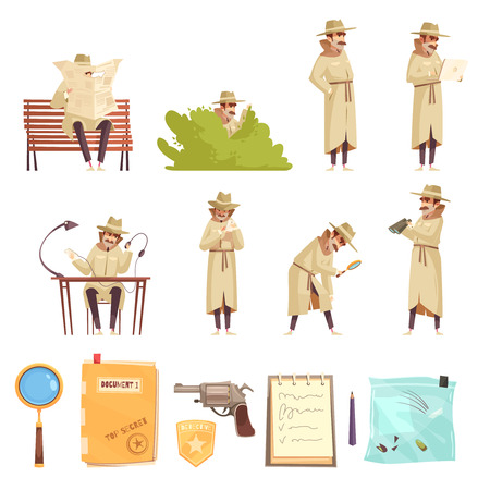 Ilustración de Private detective spy work cartoon icons collection with revolver magnifier forensic evidence secret documents isolated vector illustration - Imagen libre de derechos