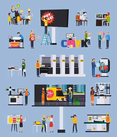 Illustration pour Advertising agency production orthogonal flat elements set with designers projects presentation billboard ads printing installation vector illustration - image libre de droit